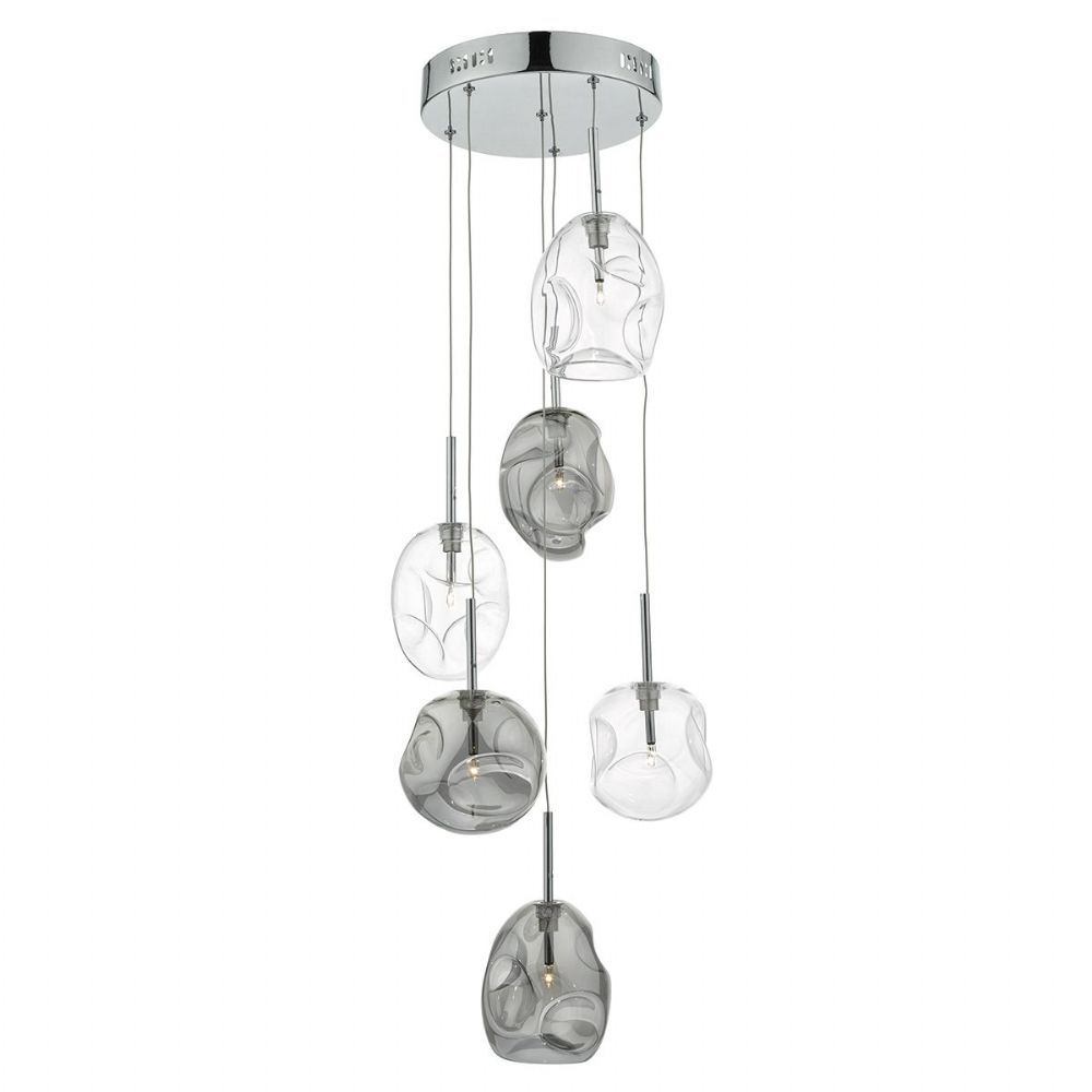 QUINN 6LT CLUSTER PENDANT SMOKED/ CLEAR (Class 2 Double Insulated) BXQUI6410-17